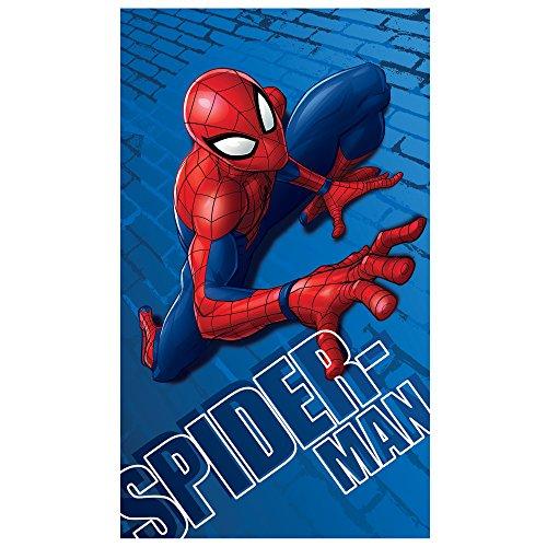 Disney Spiderman Wall Telo da spiaggia, cotone, blu, 120 x 70 cm
