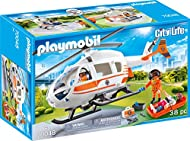 Playmobil 70048 City Life Hospital Emergency Helicopter with Landing Pad, Multicoloured, 12.5 x 24.8...