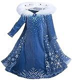 Eleasica Filles Cosplay Robe de Princesse Elsa Manches Longues Reine des Neiges Robe...