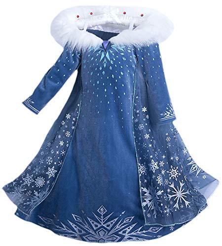 Eleasica Filles Cosplay Robe de Princesse Elsa Manches Longues Reine des Neiges Robe Longue Costume de Robe Bleu Chaude Doux Déguisements Partie Cérémonie Halloween Noël, Bleu, 120 cm