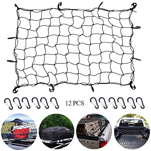 kitteny cargo net car,Heavy Duty Bungee Cargo Net with 12 Hook - Large Capacity Roof Car Trunk Mesh, Travel Luggage Rack Elasticity Roof Luggage Carrier