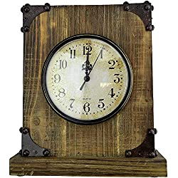 Lulu Decor, Antique Wood Rustic Desk Clock with Hidden Key Holder. Shabby Chic Finish