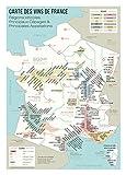 BigMouthFrog Affiche Vintage Poster Vintage Carte des vins de France, régions viticoles, Principaux cépages et appellations - oenologue et œnologie - décoration Murale (50_x_70_cm)