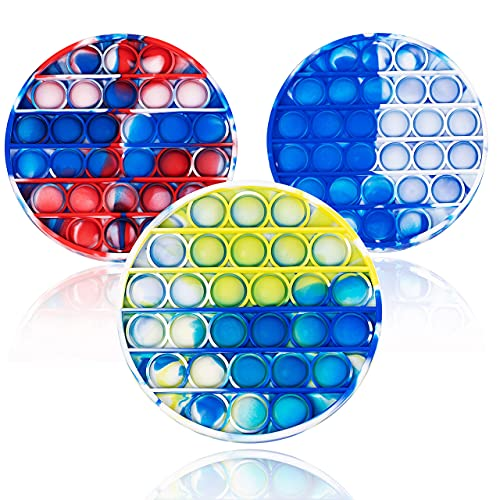 3PCS Tie-dye Push pop Bubble Fidget Toy, Autism Special Needs Stress Reliever, Squeeze Sensory Toys for Kids Adults Restore Emotions Anti-Anxiety (Round)