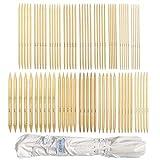 Juego de agujas de bambú de doble terminación, para principiantes y profesionales, 80 piezas (16 tamaños X 5 unidades), 2mm-12mm longitud de 25 cm, con bolsa de almacenamiento de lona envolvente