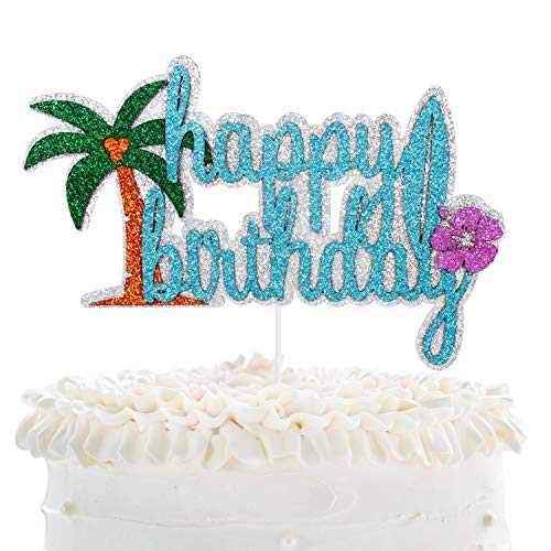 Hawaii Happy Birthday Cake Topper - Kids Birthday Glitter Hibiscus Flowers Palm Tree Cake Décor -Summer Holidays Party Supplies - Tropical Hawaiian Luau Theme Party Decoration