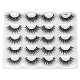 False Eyelashes 10 Pairs 3D Faux Mink Lashes Natural Wispy Eyelashes Handmade Soft Reusable Makeup Eyelashes Extension (Y004)