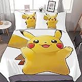 Juego de funda de edredón para cama de 203 x 228 cm, Pikachu, juego de cama de 3 piezas, con cierre de cremallera y 2 fundas de almohada, lindo juego de edredón de dibujos animados para niños y niñas