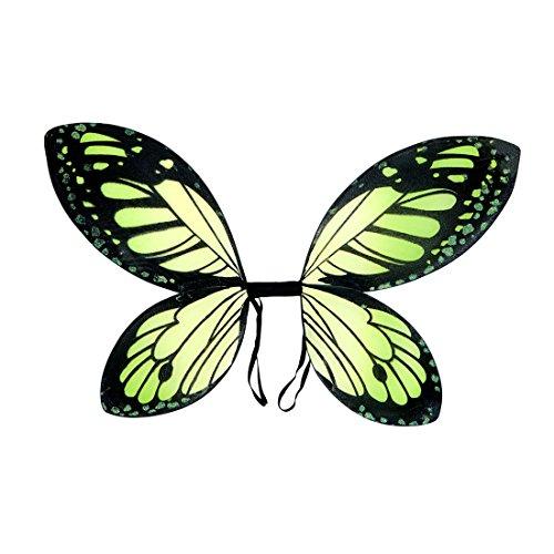 Amakando Elfenflügel Kinder Schmetterlingsflügel grün-schwarz Tinkerbell Flügel Fee Feenflügel Kind Märchen Kostüm Accessoire Schmetterling Elfe Feenkostüm