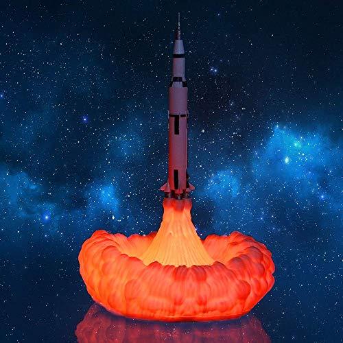3D-Druck Raketen-Lampe, Raumschiff-Lampe, Nachtlicht, Mond-Lampe mit USB, wiederaufladbar, Weihnachtsgeschenkidee für Partner, Jungen, Mädchen, Teenager, I Style