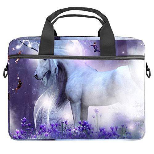 Laptop Bag Expandable Laptop Briefcase Fits Up to 13.4 14.5 Inch Laptop Shoulder Messenger Bag Computer Bag for Travel/Business/School/Men/Women Modern Unicorn Fairies Magic Sparkles Horse