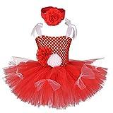 OBEEII Vestido de Navidad para Niña Bebé Princesa Tulle Tutú Vestido Xmas Carnaval Cumpleaño Cosplay Disfraz con Diadema