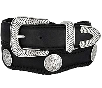 American Indian Coin Conchos Cowboy Cowgirl Western Belt Crazy Horse Scalloped Genuine Leather Belt 1-1/2  38mm  Wide  Black 38