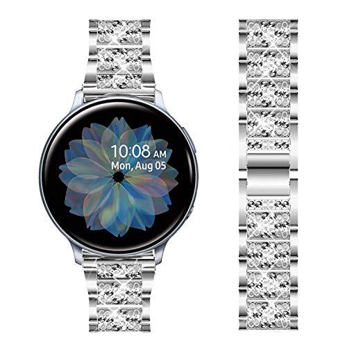 DEALELE Armband Kompatibel mit Samsung Galaxy Watch 42mm / Active/Active 2 / Galaxy 3 41mm / Huawei GT2 42mm, 20mm Glänzender Strass Diamant Edelstahl Metall Ersatz Uhredrmband, Silber