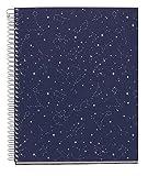 Miquelrius - Cuaderno A5, Tapa Dura, 4 Franjas de Color, 120 Hojas Rayas Horizontales, Papel 70 g Microperforado con 2 Taladros para 2 Anillas, color Azul, Diseño Cosmos