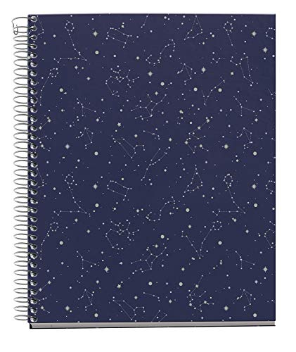 MIQUELRIUS – Notebook A5 – Extra Hard Cover, 4 Coloured Stripes, 120 Sheets Horizontal Stripes, 70 g Paper with 2 Holes for 2 Rings, Blue Cosmos Design