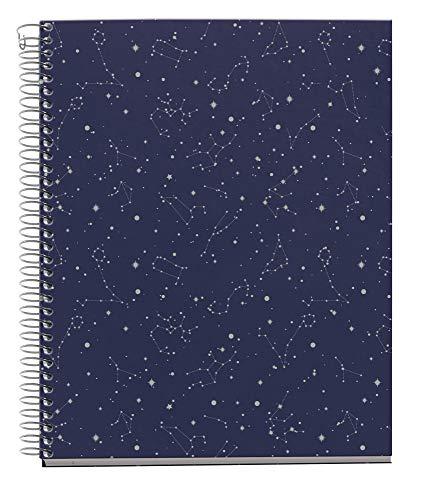 Miquel Rius - Cuaderno A5 - Tapa Extradura, 4 franjas de color, 120 Hojas Rayas Horizontales, Papel 70g Microperforado con 2 taladros para 2 anillas, Color Azul, Diseño Cosmos