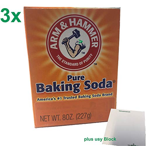 Arm & Hammer Pure Baking Soda 3er Pack (3x227g Packung reines Backsoda / Natron) + usy Block