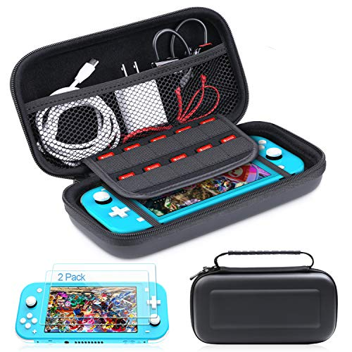 HEYSTOP Compatible Nintendo Switch Lite Case with Tempered Glass Screen Protector(2 Pack) 10 Games Card Storage and Portable Design Console Accessories Special for Traveling