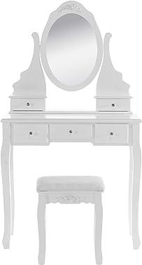 E-starain Coiffeuse Meuble avec Miroir et Tabouret Table de Maquillage avec 5 Tiroirs en MDF et Bois de Pin Blanc 80 x 141,5