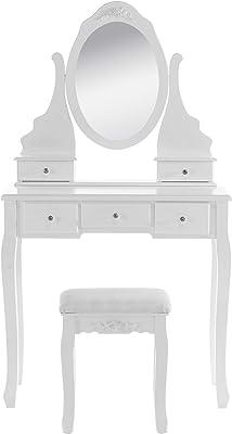 E-starain Coiffeuse Meuble avec Miroir et Tabouret Table de Maquillage avec 5 Tiroirs en MDF et Bois de Pin Blanc 80 x 141,5 x 40cm