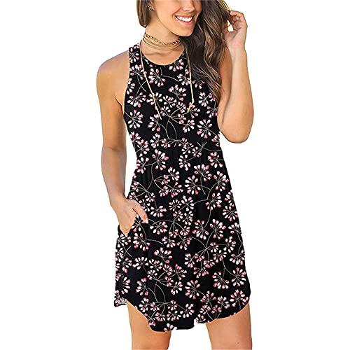 N\P Vestido de verano para mujer, sin mangas, cuello redondo, azul oscuro, M