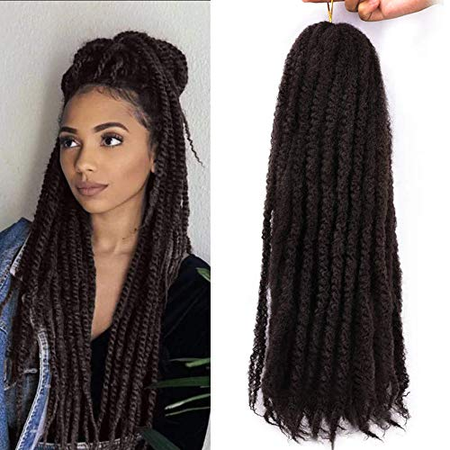 3 Packs Afro Kinky Marley Braids Hair Extensions Twist Crochet Braids Synthetic Hair 18 Inch (4#)
