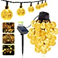 Glob Bulb Led Solar String Lights, 40Ft ?1inch 100 LED 8 Modes Fairy Light Garden Outdoor Waterproof Solar Powered Lights with Crystal Ball Decorative for Patio, Lawn, Porch, Gazebo, Bistro
