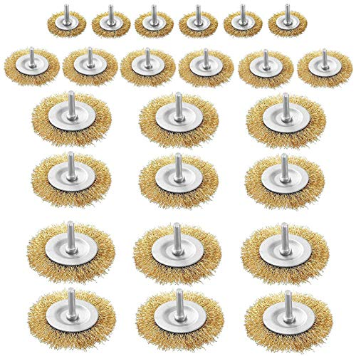 24 Pcs Wire Wheel Brush Set with 6mm Shank, 4 Sizes (1.5 Inch, 2 Inch, 2.55 Inch, 3 Inch),0.3mm Yellow Steel Wire,Drill Brush Set for Removal of Rust/Corrosion/Paint
