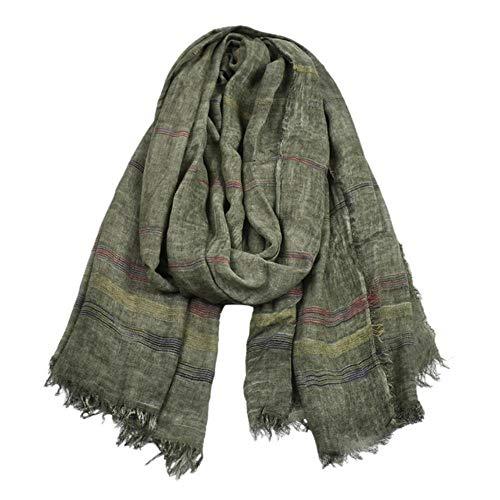 KADIS Bufandas de algodón de Lino Verde para Hombres Otoño Invierno Accesorios de Invierno para Hombres Bufanda Larga y cálida para Hombres, Verde, Talla única