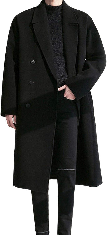CHARTOU Men's Gentle Double Breasted Jacket Overcoat Wool Blend Trench Coat Peacoat Outwear