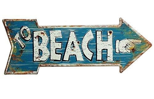 zeitzone Nostalgie Blechschild to Beach Pfeil Wegweiser Vintage Geprägt 50 x 19 cm