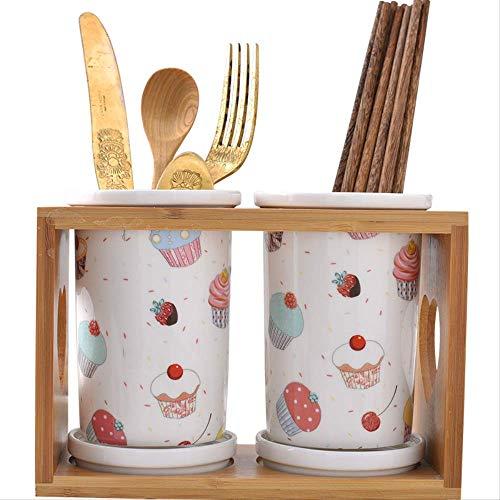Wshuhouui Besteckhalter Keramik Essstäbchen Fass Essstäbchen Rack auslaugung Küchengeschirr zu Sammeln Doppel Fass Rack Esssstäbchen Box Nach Hause Anti-Mold