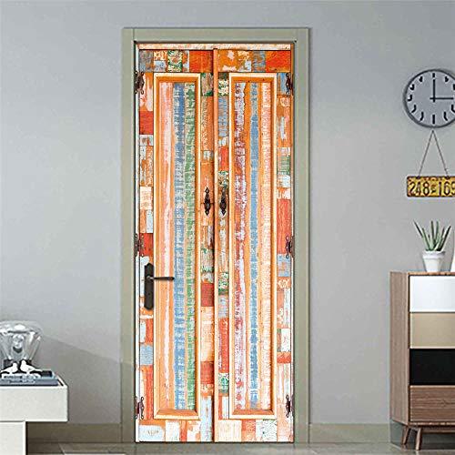 3D-deursticker, 77 x 200 cm, landkast, houten deursticker, plakfolie, vc, zelfklevend, waterdicht, behang, woonkamer, badkamer, decoratieve sticker