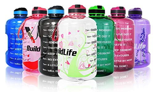 Botella de agua de 3,78 l, 2,2 l, 1,3 l, 1,3 l, 1,3 l, 1,3 l, 8 onzas, botellas de plástico transparente para beber, jarra para gimnasios, sin BPA, taza deportiva, 1,3 l, 80 onzas, bombas para mujer