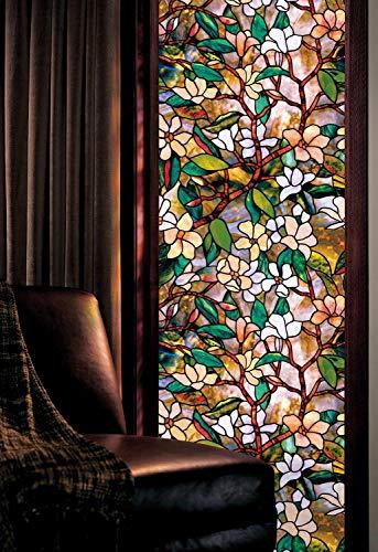 Pegatinas de ventana de longitud estática, vinilo magnolia flor opaca de cristal de privacidad para ventana, puerta, armario, mesa, 45 cm x 150 cm