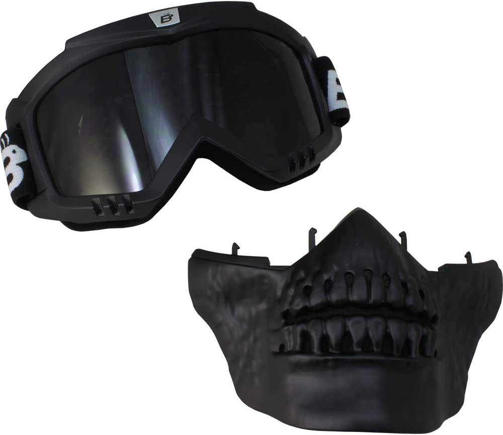 Birdz Skullbird Black Padded ATV Motorcycle Riding Goggle with Face Mask Smoke