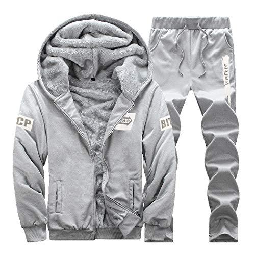 SPEEDEVE Herren Winter Warm Casual Trainingsanzug Mit Kapuze Zwei-Teilig Jogginganzug Sportanzug Lange Ärmel Freizeitanzug