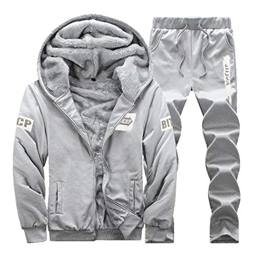 Herren Trainingsanzug Mit Kapuze Winter Warm Jogginganzug, Gr.-L (Büste 103cm), Grau