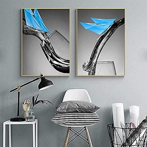 Lienzo decorativo nórdico creativo negro blanco vino azul vela arte de pared impresiones y carteles decoración del hogar sin marco 60 x 80 cm x 2 sin marco