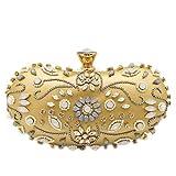 Borsetta da sera con perline borsa da sera in raso con applicazioni di perline e cristalli fatti a mano Gold Beaded Clutch 22 X 11 X 9cm