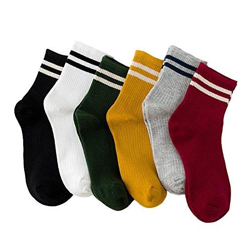 Calcetines de algodón para mujer con diseño de rayas y