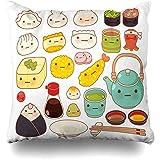 Throw Pillow Cover Sashimi Manga Lovely Baby Oriental Comida Bebida Receta Sushi Personaje Gyoza Tempura Wonton Design Funda de almohada decorativa Pulgadas cuadradas Cojín para el hogar Funda de almo