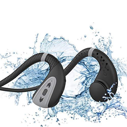 Bone Conduction Schwimmkopfhörer, MP3-Player, Bluetooth 5.0, kabellos, IPX8, wasserdicht, kabellos, Sport-Headset mit 8G-Speicher, Schwarz / Grau