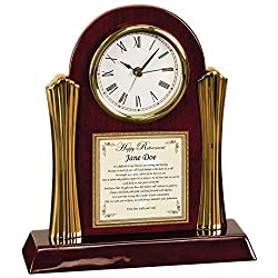 Personalized Retirement Clock Gift of Poetry for Employee or Executive Wood Clock with Gold Accents Retiring Co-Worker Executive Poem Gift Clock Present