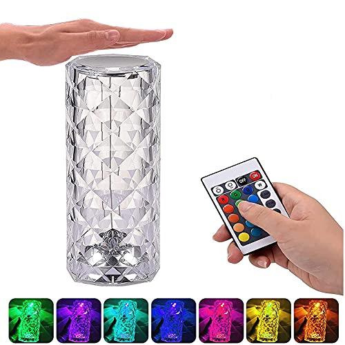 Lámpara LED de mesa de cristal moderna de acrílico lámpara de noche táctil regulable 16 colores 4 modos 3 niveles de brillo ajustables, luz blanca cálida y luz nocturna RGB con cambio de color