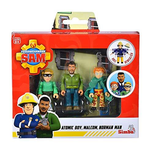 Simba 109251091 - Feuerwehrmann Sam Superhelden Figurenset / Polizist Malcom, Norman und James / voll beweglich / 7,5 cm