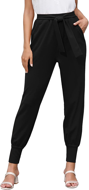 GRACE KARIN Women's Casual Pants High Waist Self Tie Loose Pants with Pockets