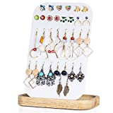 SRIWATANA Earring Holder Organizer Display, Metal Jewelry Organizer with Solid Wood Tray(62 Holes), Natural Wood