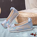 XTR Women Shoes Canvas Flat Shoes Embroidery Chinese Traditional Shoes for Women Hanfu Chinese Wedding Shoes China Style Oriental-as Photo,37